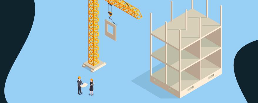 Ilustração de prédio em construção e engenheiros analisando o projeto de obra